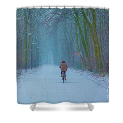 Cycling In The Snow Shower Curtain