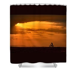 Cycling Into Sunrays Shower Curtain