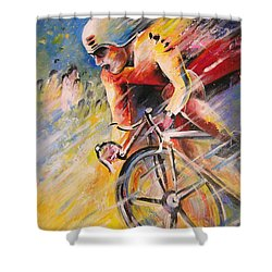 Cycling Shower Curtain by Miki De Goodaboom