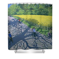 Cyclists And Yellow Field Shower Curtain by Andrew Macara