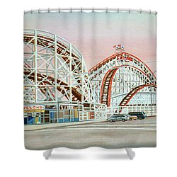 Cyclone Rollercoaster Coney Island, Ny Towel Version Shower Curtain