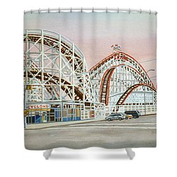 Cyclone Rollercoaster In Coney Island New York Shower Curtain
