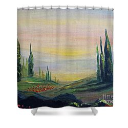 Cypress Dawn Landscape Shower Curtain