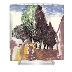Shower Curtain featuring the painting Cypresses Bonnieux by Martin Stankewitz