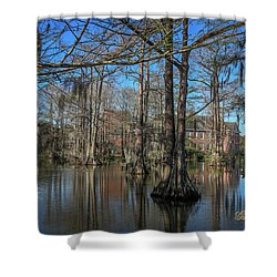 Shower Curtain featuring the photograph Cyprus Lake 2 by Gregory Daley  PPSA