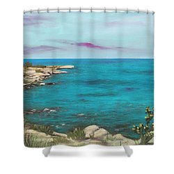 Shower Curtain featuring the painting Cyprus - Protaras by Anastasiya Malakhova