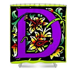 D In Purple Shower Curtain by Kathleen Sepulveda