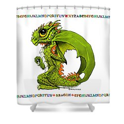 Shower Curtain featuring the digital art D Is For Dragon by Stanley Morrison