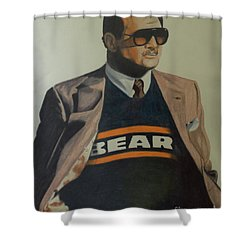 Shower Curtain featuring the drawing Da Coach Ditka by Melissa Goodrich