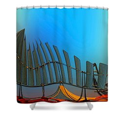 Shower Curtain featuring the digital art Da Vinci's Outpost by Wendy J St Christopher