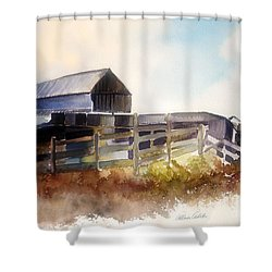 Shower Curtain featuring the painting Dad' Farmhouse by Allison Ashton