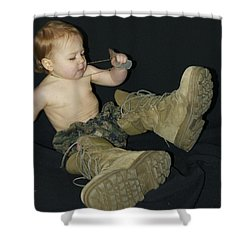 Daddys Shoes Shower Curtain by Michael Peychich