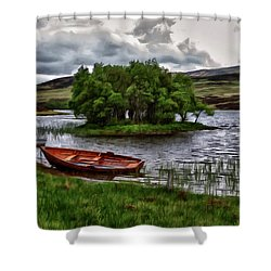 Shower Curtain featuring the painting Dads Fishing Spot P D P by David Dehner