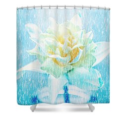 Daffodil Flower In Rain. Digital Art Shower Curtain
