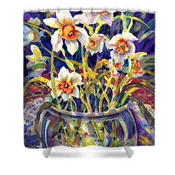 Daffodils And Lace Shower Curtain