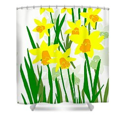 Daffodils Drawing Shower Curtain