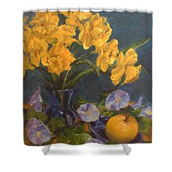 Shower Curtain featuring the painting Daffodils by Karen Ilari