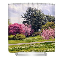 Shower Curtain featuring the photograph Daffodils On A Hill by Jessica Jenney