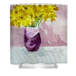 Shower Curtain featuring the painting Daffs by Jamie Frier