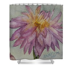 Shower Curtain featuring the painting Dahlia At Eastport Me by Donna Walsh