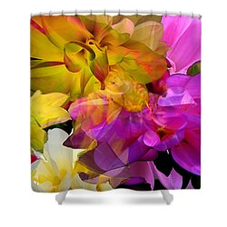 Shower Curtain featuring the digital art Dahlia Fantasy by Hanne Lore Koehler