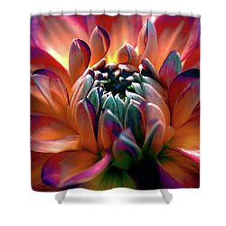 Dahlia Multi Colored Squared Shower Curtain by Julie Palencia