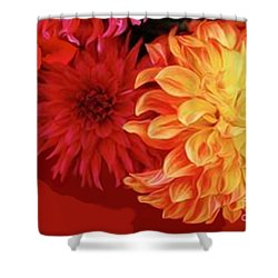 Dahlias Shower Curtain by Corey Ford