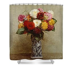 Dahlias In A Chinese Vase Shower Curtain by Ignace Henri Jean Fantin-Latour