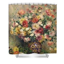 Dahlias Shower Curtain by Pierre Auguste Renoir