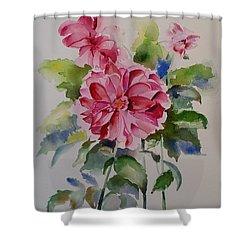 Dahlias Still Life Flowers Shower Curtain by Geeta Biswas