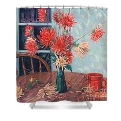 Dahlias With Red Cup Shower Curtain
