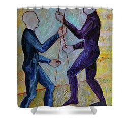 Shower Curtain featuring the painting Daily Balancing by Priti Lathia