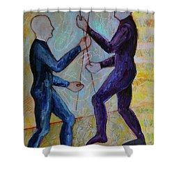 Daily Balancing Shower Curtain by Priti Lathia