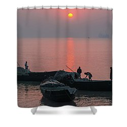 Daily Chores On The River Shower Curtain