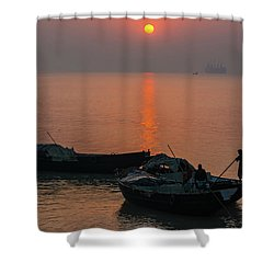 Daily Life Of Boatman Shower Curtain