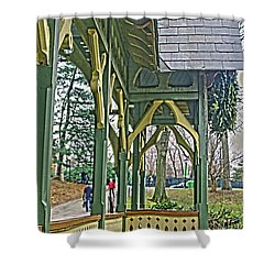 Dairy Cottage Porch Shower Curtain by Sandy Moulder