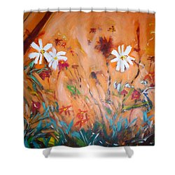 Daisies Along The Fence Shower Curtain
