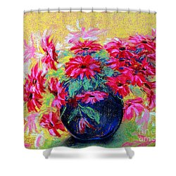 Daisies And Blue Vase Shower Curtain