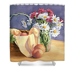 Daisies And Peaches Shower Curtain by Vikki Bouffard