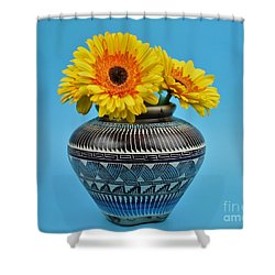 Daisies Displayed In Navajo Native American Vase Shower Curtain