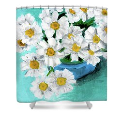 Daisies In Blue Bowl Shower Curtain