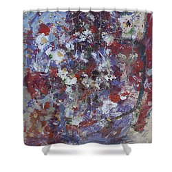 Shower Curtain featuring the painting Daisies In Purple by Avonelle Kelsey