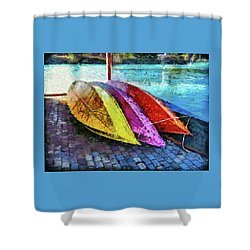 Shower Curtain featuring the photograph Daisy And The Rowboats by Thom Zehrfeld