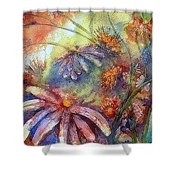 Shower Curtain featuring the painting Daisy Blues by Renate Nadi Wesley