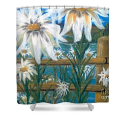 Shower Curtain featuring the painting Daisy Dance by Saundra Johnson