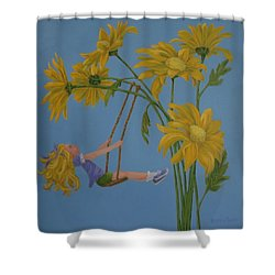 Shower Curtain featuring the painting Daisy Days by Karen Ilari