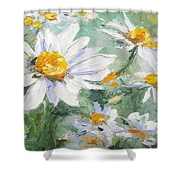 Daisy Delight Palette Knife Painting Shower Curtain