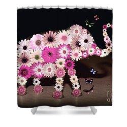 Daisy Elephant Shower Curtain by Donna Bentley
