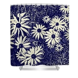 Daisy Field Blueprint Shower Curtain