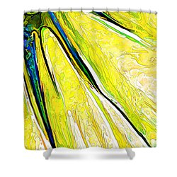 Daisy Petal Abstract In Lemon-lime Shower Curtain